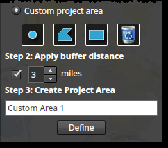 Tip When you select a county, only the incorporated cities in that county will be shown in the incorporated city dropdown list. Custom This option allows you to draw a custom boundary on the map.