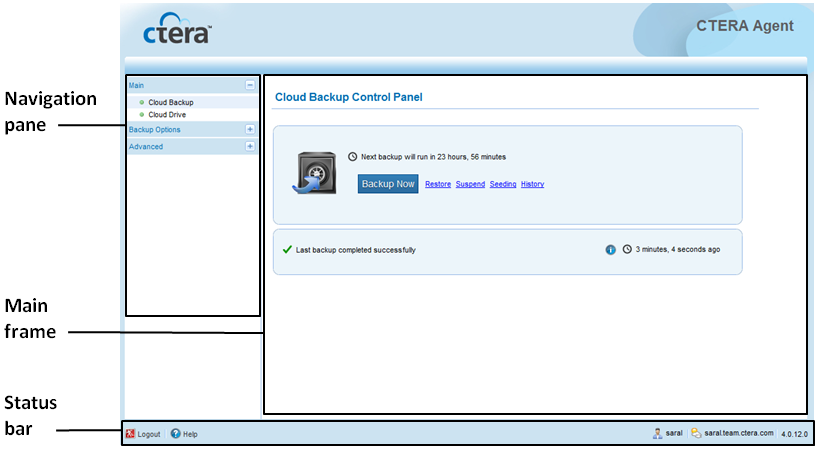 4 Using the CTERA Agent in Cloud Agent Mode The CTERA Agent Web interface opens in your Web browser, displaying the Cloud Backup Control Panel page.