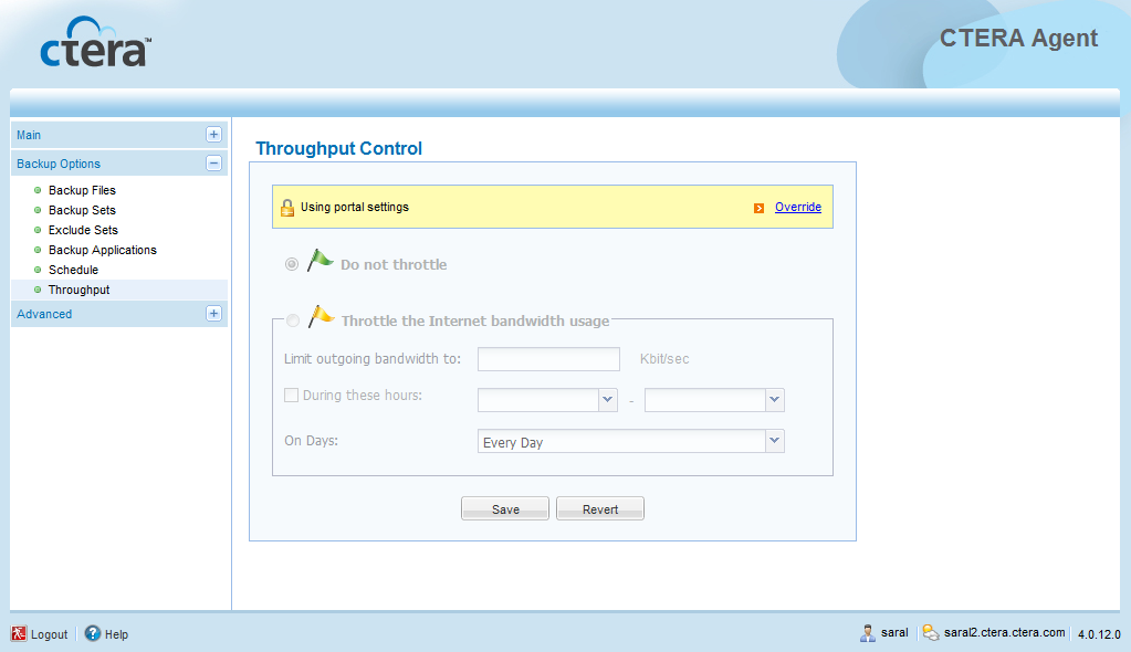 Using the CTERA Agent in Cloud Agent Mode 4 Restricting Throughput If desired, you can restrict the amount of bandwidth used for backing up files online.
