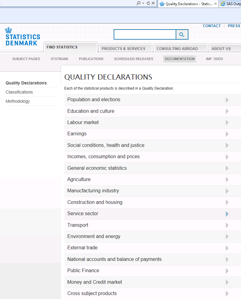 Step 3 - Selection of specific registers Quality declarations (on Internet) Declarations of Contents general