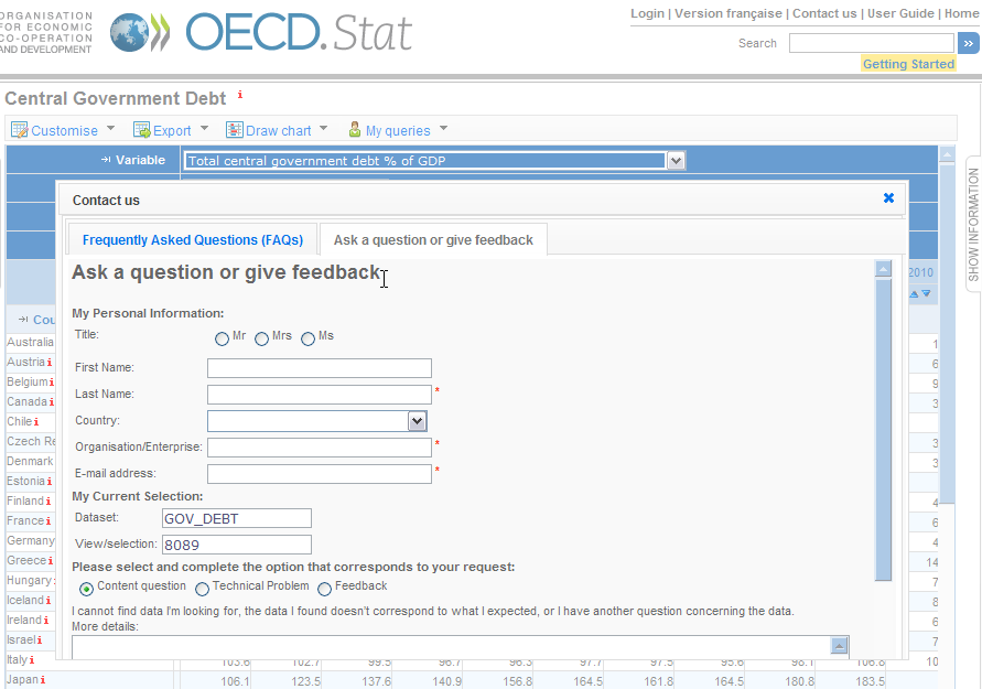 Providing Feedback Contact the OECD.Stat Project Team via e-mail using the Contact Us link located in the top right-hand corner of the screen.