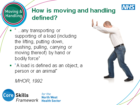 SLIDE 8: Definition of Manual Handling Discuss with participants that people often think that manual handling training is just about lifting.