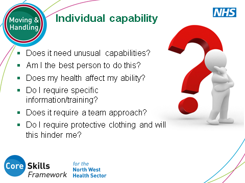 SLIDE 14: Ergonomic Risk Assessment: Individual Capability... This slide highlights the importance of considering both themselves (and others if this is a team situation), in relation to the task.