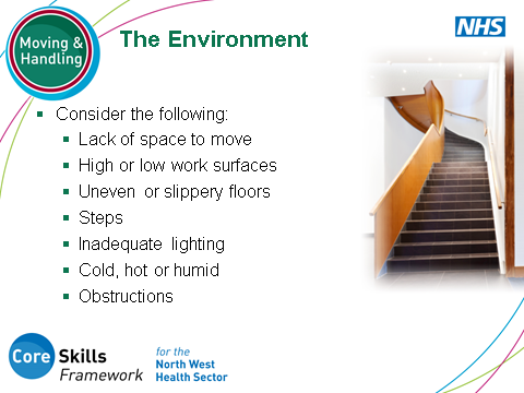 SLIDE 16: Ergonomic Risk Assessment : The Environment People don t often think about the environment they work in. Introduce the importance of recognising that the environment itself may be a hazard.