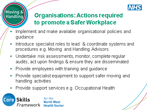 SLIDE 6: Organisations: Actions required to promote a Safer Workplace This slide emphasises the actions that healthcare organisations should (and typically ensure) put in place to promote a safe