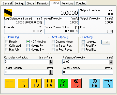 The Online Tab The online tab is a great tool for testing moves, the drive can be enabled, and run without a PLC program running as well as to see the values of current moves.