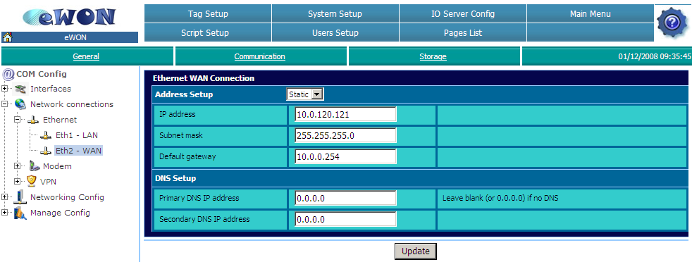 Configure the ewon VPN Server Chapter 3. 3. Configure the ewon VPN Server In our example, ewon A is the VPN Server.