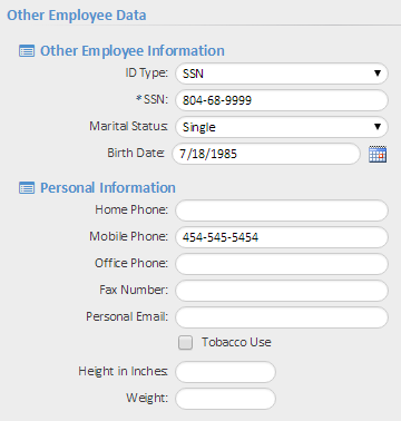 Employee Data Information entered on the Initiate New Hire Onboarding page will also appear on the Employee Data page.