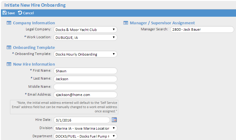 Initiate New Hire Onboarding Start the onboarding process for a new employee on the Initiate New Hire Onboarding page.