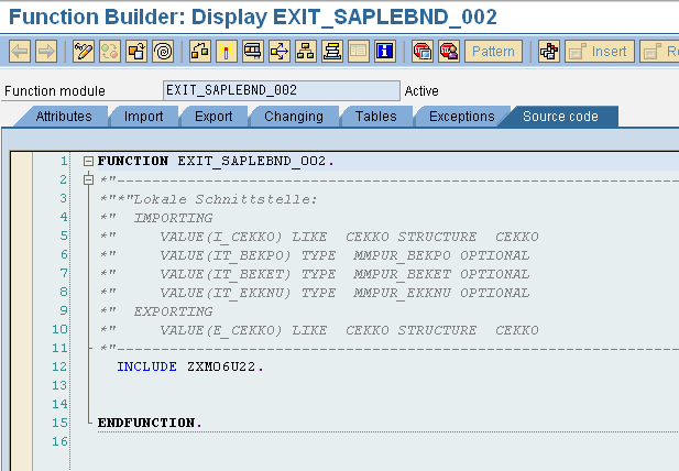 After finding the relevant Exits, you can check their details in display mode by viewing their components & checking the structures available in the includes available for the Function modules of the