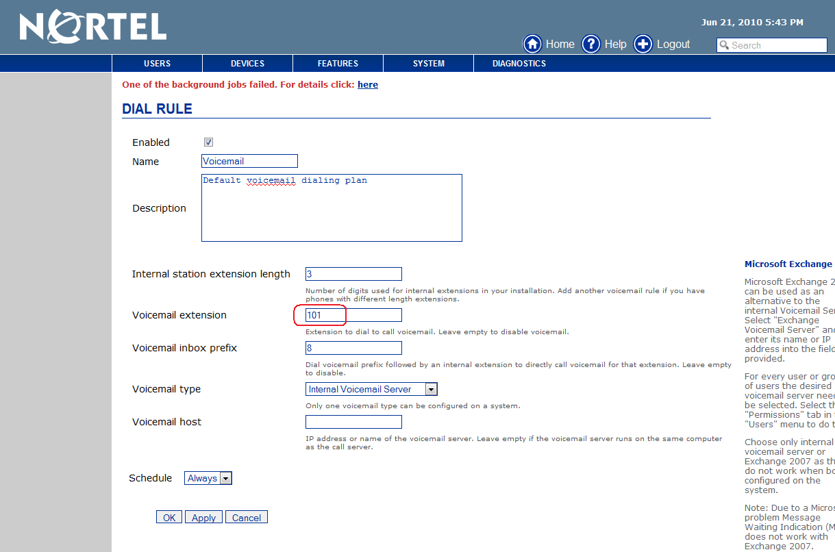 On the Dial plan rules on Figure 18, click on Voicemail link.