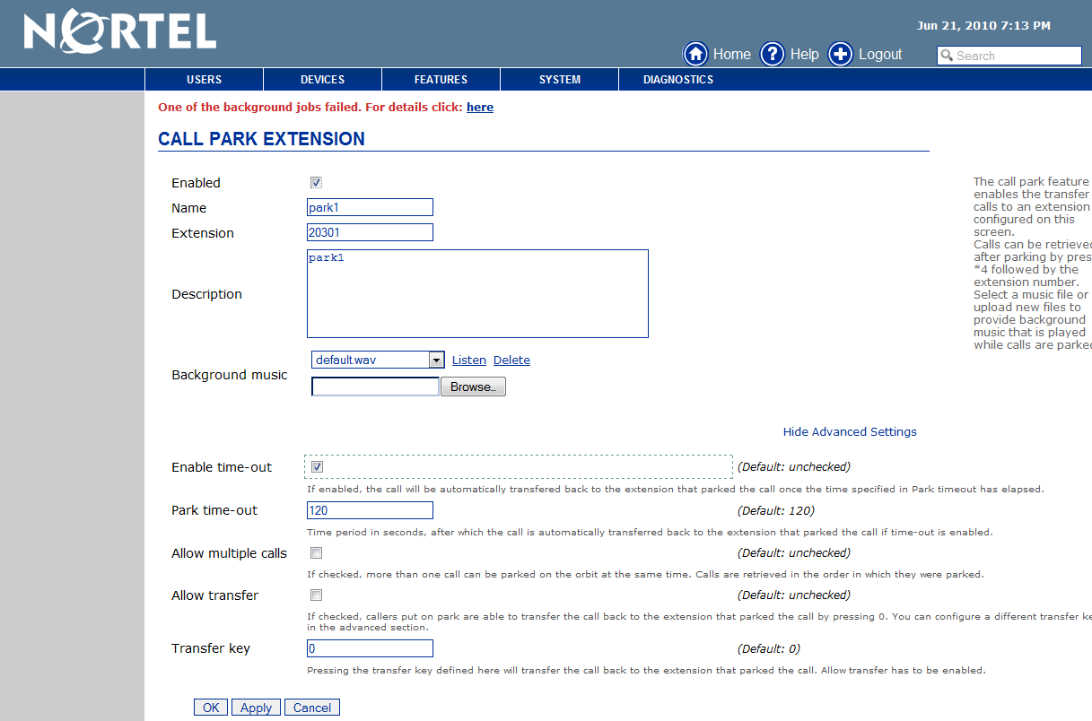 The Call Park screen will be displayed. Click on the Add Call Park Extension link as shown in Figure 37 below.