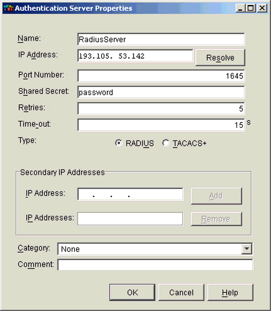ILLUSTRATION 1.22 Authentication Server Properties window 3. Fill in the fields of the window.