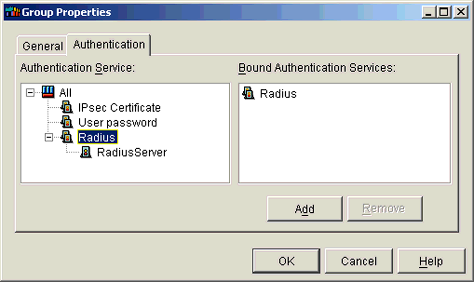 ILLUSTRATION 1.27 Group Properties Authentication tab Modifying an Existing Authentication Service Definition The default port defined in the RSA ACE/Server of the RADIUS service is 1645.