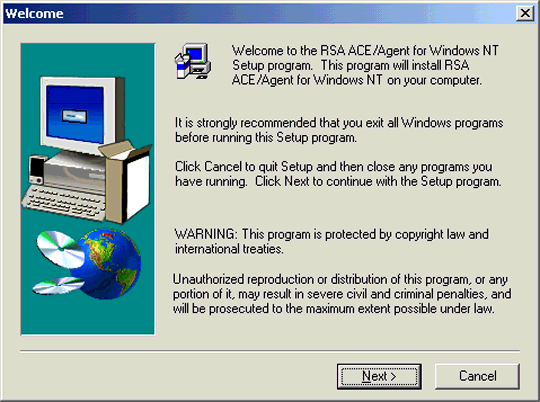RSA ACE Client Setup To install the agent: 1. Before you start the agent installation, copy c:\ace5\data\sdconf.rec from the RSA ACE/Server machine to c:\winnt\system32\ of the Agent machine.