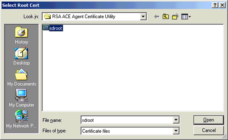 RSA ACE Client Setup 7. In the Location of Root Certificate window, enter the path of the sdroot.crt file previously created with Catool. Click Next to continue. ILLUSTRATION B.