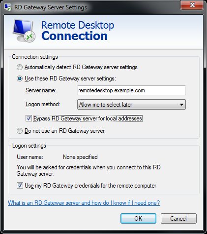 Deploying F5 with Microsoft Windows Server 2008 R2 Remote Desktop Services Each user's Remote Desktop Connection client needs to be configured to use an RD Gateway Server.