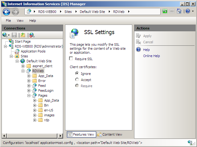 default connection page Figure 11 SSL settings of the
