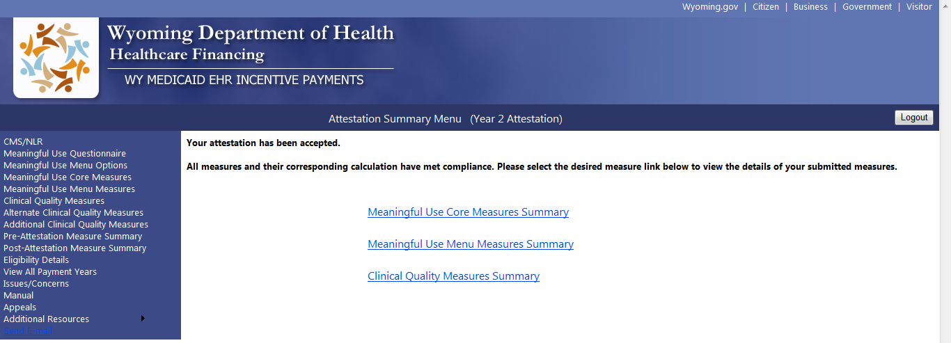 9.10 Accepted Attestation Screen The EP can view their measure summaries for all measure