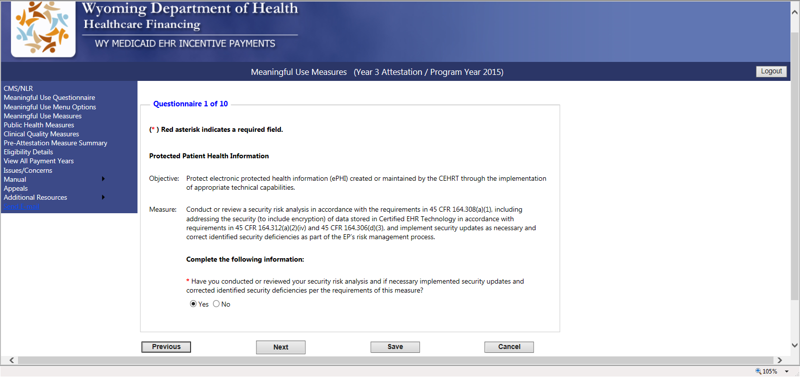 9.1.1 Meaningful Use Measure 1 Screen - Protected Patient Health Information Measure 1 to report on the Protected Patient Health Information measure does not offer any alternates for EPs who would be