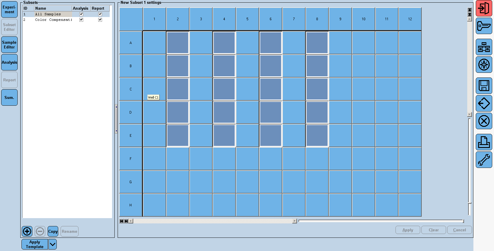 #12 #12 #12 13. In the Subset Editor on the left hand column, choose a new subset by pressing the + tab in the lower left corner. Name the subset Color Compensation and mark 4 rows with each 5 wells.