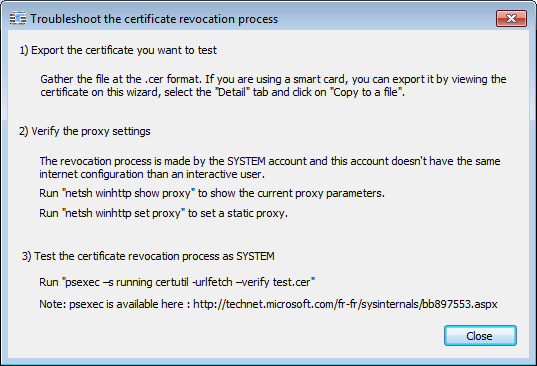A reminder about the SYSTEM proxy configuration can be shown