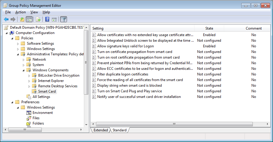 The settings located in the SOFTWARE Hive can be audited by opening the Computer Configuration- >Policies->Administrative Templates -> Windows Components -> Smart Card: Disable EKU checking Allow