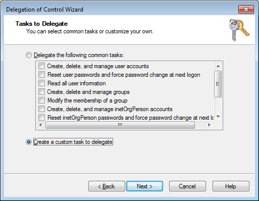 Select Create a custom task to delegate Select Only the