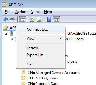 Delegate the NTLM certificate store Launch ADSI Edit Select