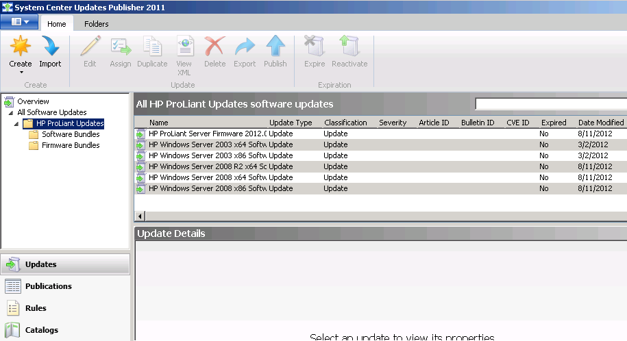 HP ProLiant Updates Catalog SCCM 2007 SCCM 2012 Server driver and firmware updates Uses drivers and firmware from HP Service Pack for ProLiant 5 OS-based driver bundles 1 ProLiant firmware bundle