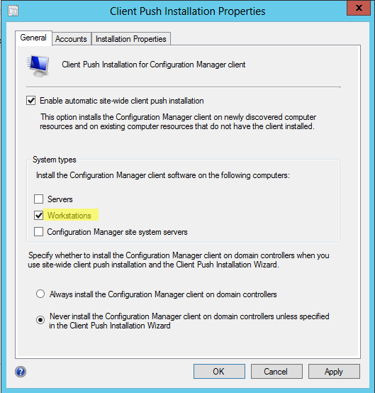 Setting up Client Push Installation To setup Client Push Installation do the following: - Logon to SCCM. - Choose the Administration Pane.