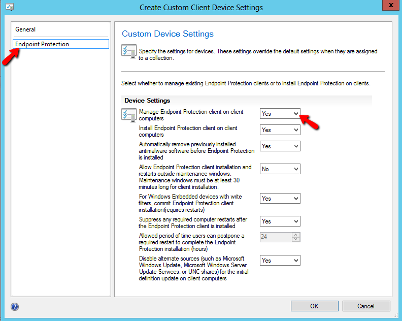 Setting up Custom Client Settings for Endpoint Protection - Logon to SCCM and open the console. - Go to Administration Client Settings. - Click on Create Custom Client Device Settings.