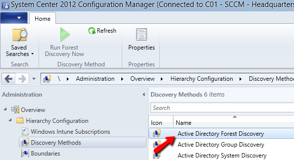 Setting up boundaries - Logon to you domain controller and start Server Manager. - Go to Tools and choose Active Directory Sites and Services. - Right click subnet and choose New Subnet.