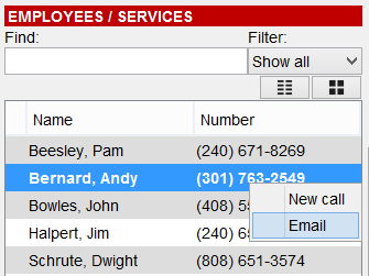 New Call To make a new call, right click on an employee, then click New call. Alternatively you can enter the number in the call field next to the new call button.