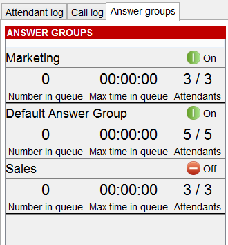 Call log tab The call log tab shows each answer group as a sub-tab as well as each call made to that group.