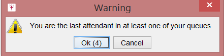 You are the last attendant warning When the last attendant in any call group logs out, the system will give that attendant a warning before logging him or her out.
