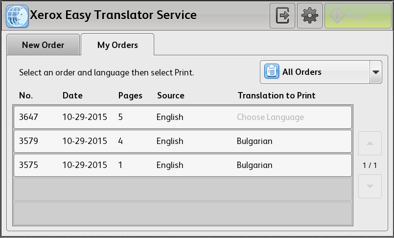 If an order contains several translation languages, you can tap Choose Language to