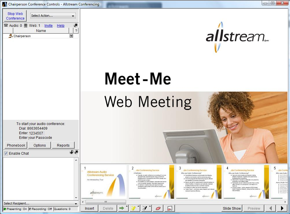 At this point you can just use the Conference Controls (on the left side) to manage your audio session or if you are also conducting a Web Meeting, click Start Web Conference.