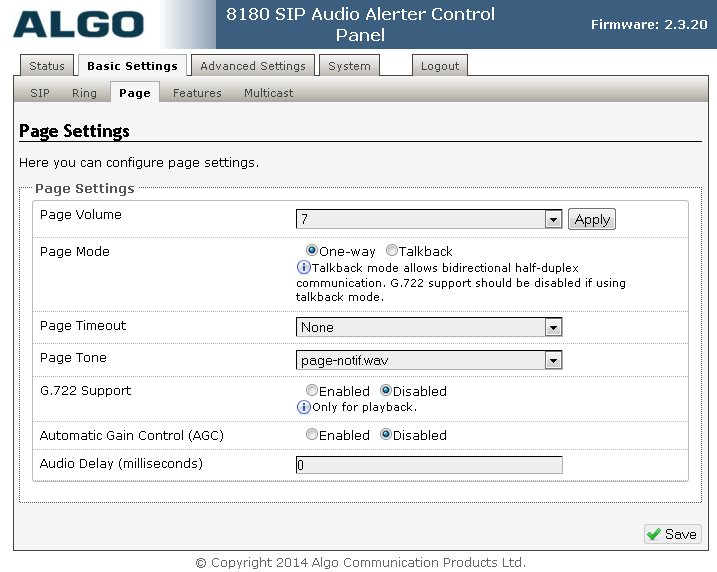Select Basic Settings Page from the top menu, to display the Page Settings below.