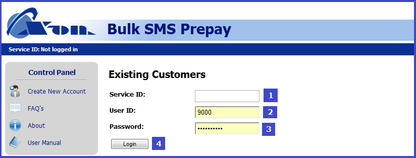 3 Logging In Having received your user details you can now login to the service. BulkSMS is located at the following URL: http://www.x-ondata.com/sms_prepay/login.