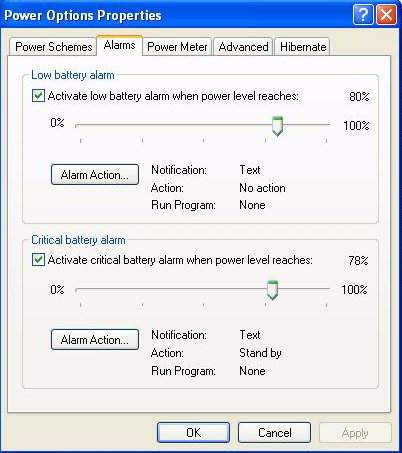 3. In the Power Options Properties window, select the Alarms tab. 4. Two alarms are available to perform automated OS shutdown: Low battery alarm and Critical battery alarm.