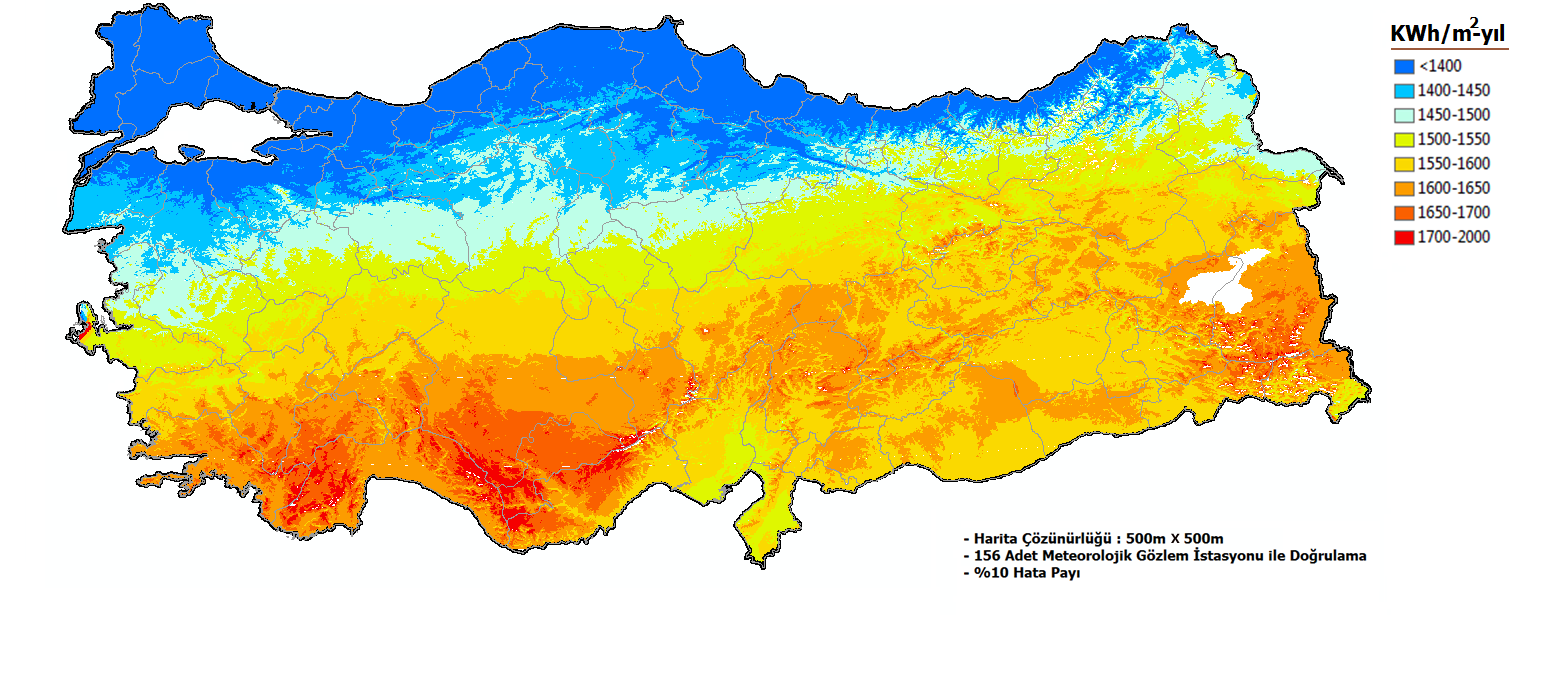 SOLAR POTENTIAL Average Global Solar Radiation: 1,500 kwh/m²-year Our SOLAR ENERGY POTENTIAL ATLAS has been prepared at a resolution of 500 m x 500 m by using Geographical Information System.