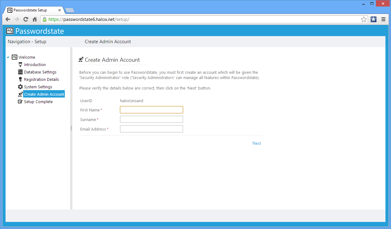 AD. Create Admin Account On this screen you specify details for the first user account to be created in Passwordstate.