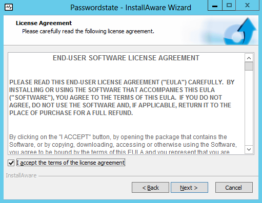 6 Installing Passwordstate To install Passwordstate, run Passwordstate.exe and follow these instructions: 1.