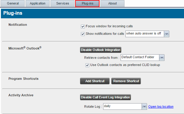 Basic Configuration Settings Settings Plug-ins You use the Plug-ins tab to configure the plug-in software used by Receptionist Console to provide functionality such as call notification, LDAP*,