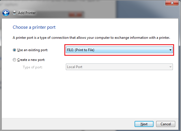 Select the Local Printer option: You will then be prompted to select the type of port you would like to print to.