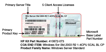 Gathering information Certificate of Authenticity IMPORTANT: Note where the COA label is located on the server, and record the product key for future reference.