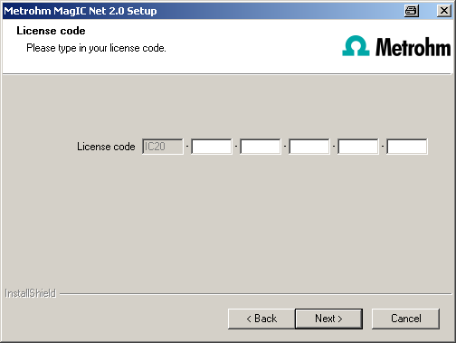 7 Enter the update license code for MagIC Net Multi and click on [Next]. 8 Note The update of MagIC Net Multi consists of the server license and three client licenses.