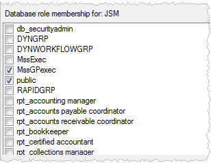 user by placing a check ( ) in the Map column. Figure 4: Users mapped to this login section 10 Map roles to the login by selecting MssGPExec and public within the Database role membership for section.