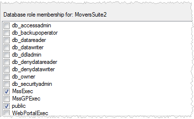 Figure 7: Users mapped to this login section 8 Map roles to the login by selecting MssExec and public within the Database role membership for section.